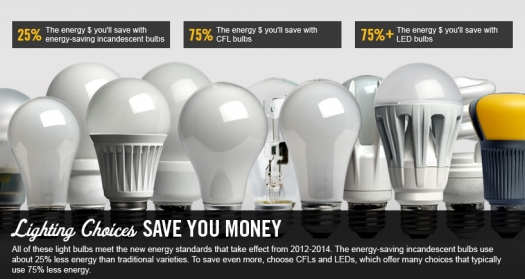 """Photos of different varieties of light bulbs, with the words """"Lighting choices save you money,"""" with explanation that these light bulbs adhere to energy standards of 2012-2014."""