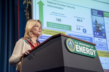 NNSA Administrator Lisa E. Gordon-Hagerty addresses the workforce at an All Hands meeting
