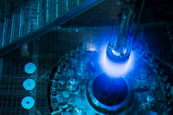 A blue glow is present during the refueling of the HFIR reactor at Oak Ridge National Laboratory