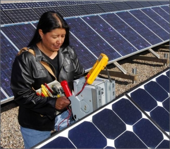 2002 Native American student intern Deborah Tewa at Sandia's Photovoltaics Laboratory