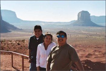 2003 interns pictured left to right at Navajo Monument Valley: Keith Candelaria, Velissa Sandoval, and Shaun Tsabetsaye