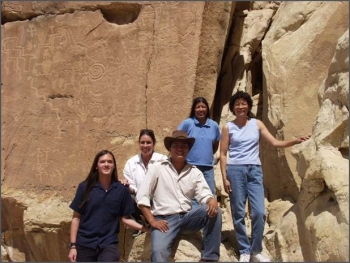2004 interns L-R at Hopi Tribe petroglyph: Benjamin Mar, Jennifer Coots, Colin Ben, Deborah Tewa, and Sandra Begay