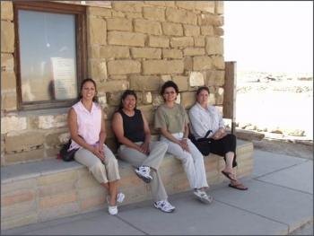 2005 interns pictured left to right at Hopi Old Oraibi Village: Tanya Martinez, Deborah Tewa, Sandra Begay, and Jennifer Coots