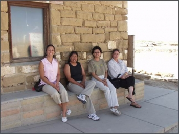 2005 interns pictured left to right at Hopi Old Oraibi Village: Tanya Martinez, Deborah Tewa, Sandra Begay, and Jennifer Coots