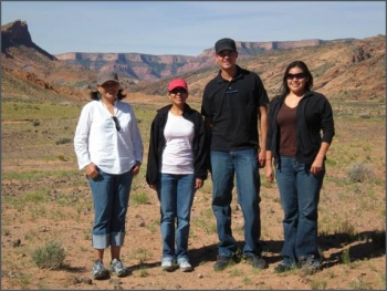 2008 interns pictured left to right at Navajo Nation, Arizona: Gepetta Billie, Amanda Montoya, Carson Pete, Suzanne Singer