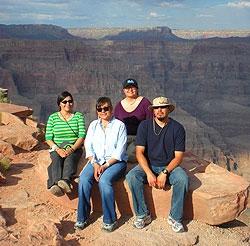 2010 interns at Grand Canyon West on Hualapai tribal land: Joni Fuenmayor, Gepetta Billie, Prestene Garnenez, and Logan Slock