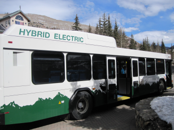 Photo of a hybrid electric bus