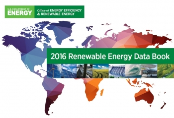Images of renewable energy technologies (wind turbine, solar panel, hydroelectric dam, a tidal wave, etc.) and a map of the world