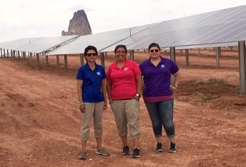 Pictured at NTUA Solar Farm, Kayenta, AZ – Navajo Nation: Sandra Begay, Teri Allery, Kathryn Hall