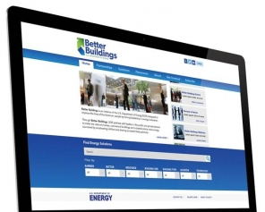 Image of the home page of the Better Buildings Solution Center website on a computer screen.