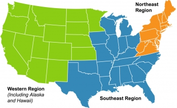 Regional map of the United States.