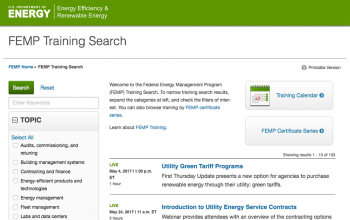 Screenshot of the Training Search.