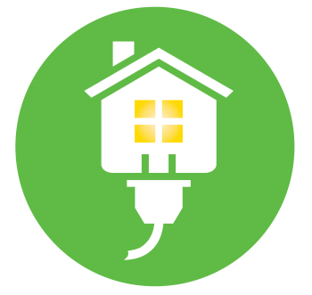 Circle green Energy Saver logo with lights on