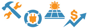 Graphic showing 4 icons - tools, solar panels, plug and a chart arrow moving up.