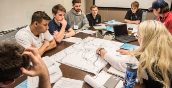 Students compete in the siting challenge at the 2017 Collegiate Wind Competition Technical Challenge