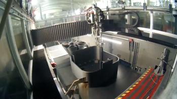 Oak Ridge National Laboratory's BAAM machine 3D prints a submarine hull.