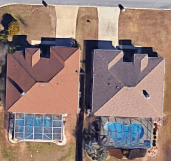 This satellite image shows the two Florida homes where EPRI is conducting its energy storage project.