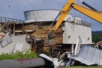 Crews demolish the K-832-H Cooling Tower.