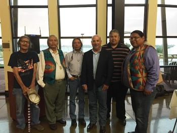 Roger Jarrell, third from right, met with tribal leaders at the Hanford Reach Interpretive Center following his visit to Hanford.