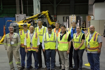 Jarrell, front, third from left, was welcomed at a robotics training center at the former Portsmouth Gaseous Diffusion Plant at the Portsmouth Site in Piketon July 19.