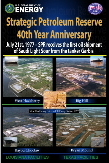 This July marks the Strategic Petroleum Reserve's (SPR) 40th anniversary of its first oil delivery, and the U.S. Department of Energy (DOE) is observing this important milestone across the SPR's four storage sites in Louisiana and Texas.