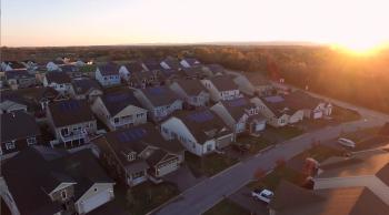 An aerial photo of a solar neighborhood