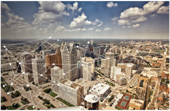 Photo of buildings in downtown Detroit, with lines and points drawn connecting them.