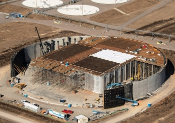 Saltstone Disposal Unit 6 at the halfway point in construction.