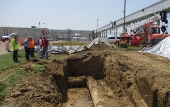 Interns observe field work at the Paducah Gaseous Diffusion Plant site.