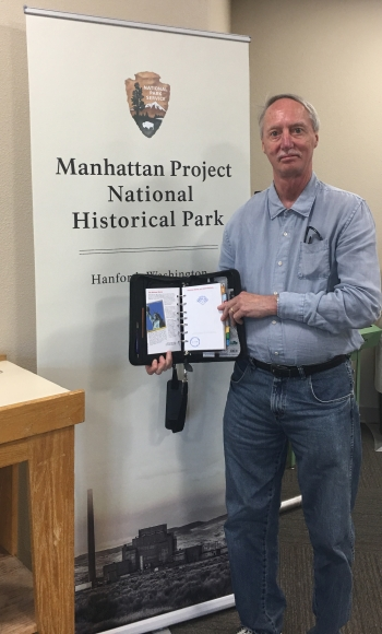 Thomas Pauling with the NPS MAPR passport stamp for the Hanford portion of the Park.