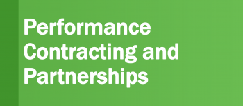 Graphic that reads Connect with Performance Contracting and Partnerships.