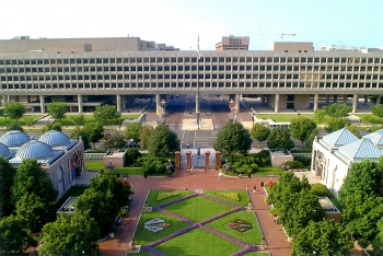 View of the Forrestal Building from the Smithsonian Castle