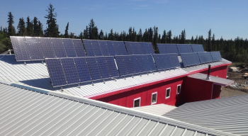 Solar array on rooftop of community building in Alaska