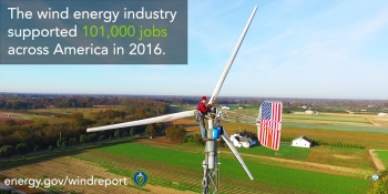 The wind energy industry supported 101,000 jobs across America in 2016.