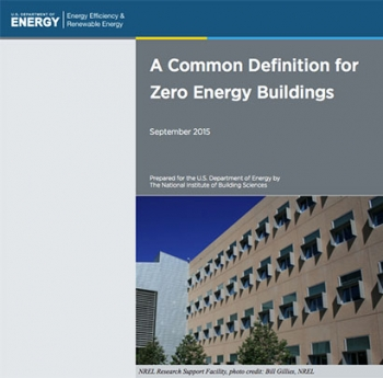 Cover of the A Common Definition for Zero Energy Buildings.