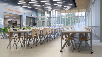 The lunch room at Discovery Elementary, a zero energy school.