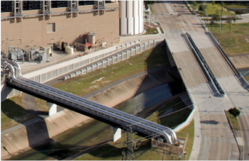 Brays Bayou next to the TECO CHP installation under normal conditions in October 2012.