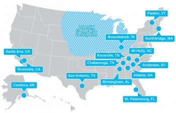 Resilient Distribution Systems Lab Call Awards: map of the research locations