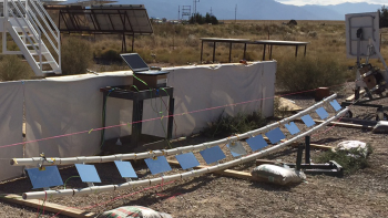 Picture of a ganged heliostat installed at Sandia National Laboratories National Solar Thermal Test Facility.