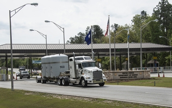 A transuranic waste shipment departs the Savannah River Site en route to the Waste Isolation Pilot Plant.