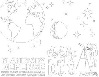 Coloring page for kids using imagery from the Planetary Defense video series