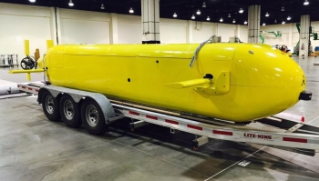 An underwater vehicle pictured inside a building.