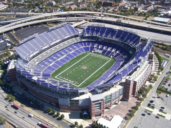 Aerial photo of M&T Bank Stadium.