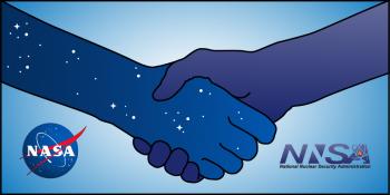 Handshake image showing both NASA and NNSA logos for Planetary Defense