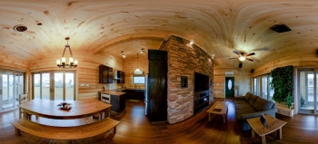 A panoramic view of the inside of a home.