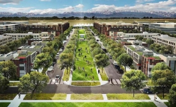 Artist rendering of a community with mountains in the backgdrop.