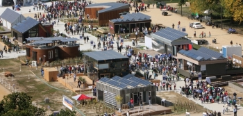 Aerial picture of solar powered houses.