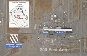 The site of the proposed capsule storage pad is southwest of the Waste Encapsulation Storage Facility, part of B Plant, and more than six miles from the Columbia River.