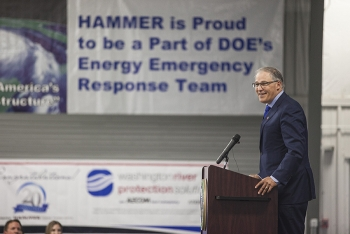 Washington Gov. Jay Inslee addresses the audience during a ceremony celebrating 20 years of excellence of HAMMER.