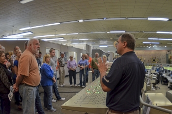 Paducah Site visitors get an up-close look at the C-300 Building's main control room.